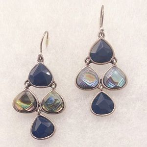NWOT 🍀 Lucky Brand silver earrings, blue stones